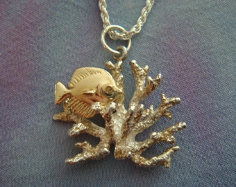 14K  Fish and Silver Coral Sealife Pendant