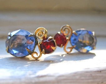 Upcycled Red and Blue Earrings