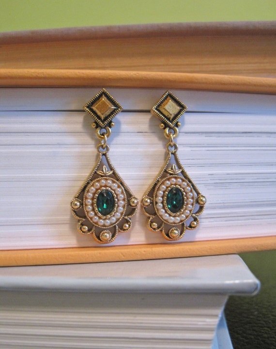 Vintage Upcycled Green and Pearl Earrings