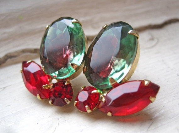 Joan Red and Green Upcycled Earrings