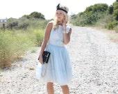 VTG 50s Light Blue Sheer Lace Party Dress w/ Full Skirt S