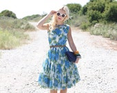 VTG 50s Blue and Green Floral Party Dress S