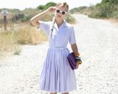 VTG 1950s 50s Violet Day Dress w/ Waist Belt and Pleated Skirt S