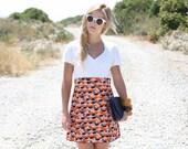 VTG 1960s 60s Mod White Mini Dress w/ Colorful Skirt M