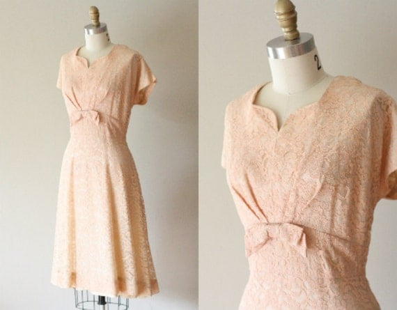 VTG 50s Light Pink Party Dress w/ Bow L