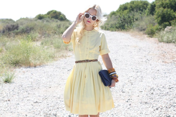 VTG 50s Yellow Day Dress w/ Pleated Skirt XS