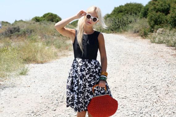 VTG 50s Black & White Floral Dress w/ Full Skirt XS