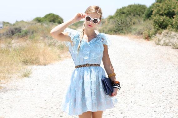 VTG 1960s 60s Light Blue Lace Party Dress w/ Oversized Collar S/M