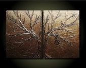 Copper Love Tree Set/ Earth- 24x36 Unique Sculptural Abstract Set of original paintings