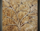 Tree of Life/ Square/ Earth- 36x36 Extra Large Unique Sculptural Painting