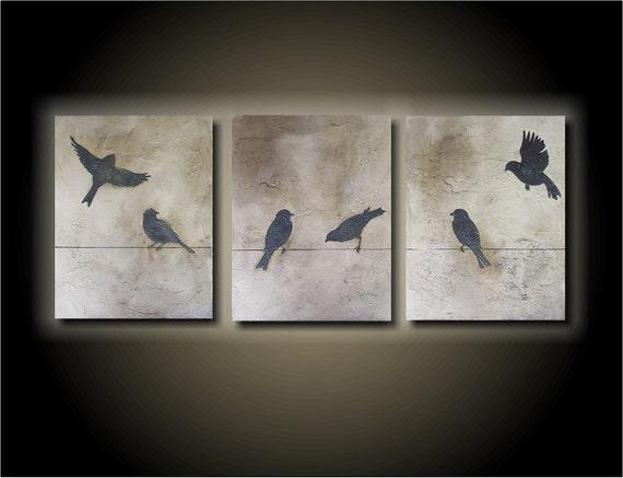 Birds on a Wire- 33x14 Beautiful Three Piece Set