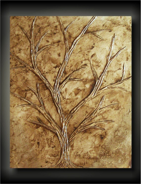 Tree of Life/ Earth- 24x30 Huge Unique Sculptural Painting