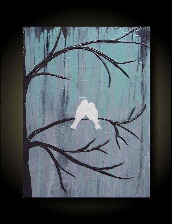 Lovebirds/ Aqua Mist 18x24 UNIQUE SCULPTURAL PAINTING original abstract