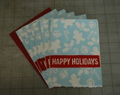 Hand printed set of Happy Holidays cards