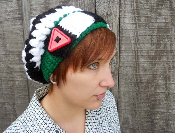 Black, White, Green and Red Nightmare READY TO SHIP Slouch Hat - Winter Warm Accessories by Julian Bean