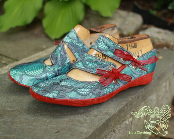 Size 9, Ready to Ship, Teal Satin and Lace Shoes, with Floating Double Straps