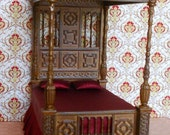 Dollhouse Miniatures Stately Canopy Bed 1/12th scale