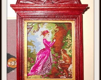 "Dollhouse Miniature Needlepoint Petit Point Pattern Wall Hanging Picture ""Le Chiffre D'Armour"""