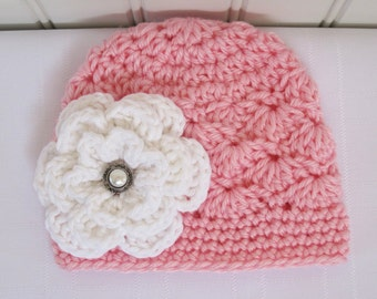 Crochet Girls Hat - Baby Hat - Toddler Hat - Newborn Hat - Winter Hat - Pink with White Flower - Available in sizes Newborn to 3 Years