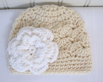 Baby Hat - Crochet Hat - Girls Hat - Toddler Hat - Winter Hat - Newborn Hat - Off White Hat with White Flower - Cream Hat - Crochet Baby Hat
