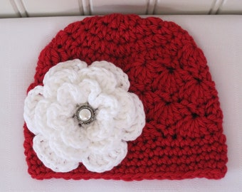 Crochet Girls Hat - Baby Hat - Toddler Hat - Newborn Hat - Winter Hat - Red Hat with White Flower - Available in sizes Newborn to 3 Years