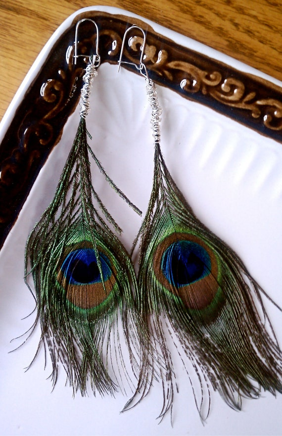 Peacock Feathers Wrapped in Silver Plated Wire