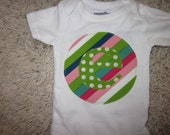 SHORT or LONG sleeved custom initial onesie for baby