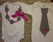 Brother and sister combo, applique tie and applique necklace with ric rac detail, gray and pink