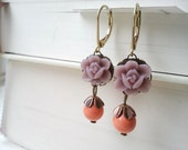 Flower Earrings with Dusky Purple Lotus Flowers and Coral Swarovski Pearls (FREE SHIPPING)
