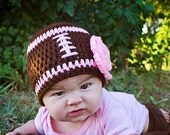 Football Hat with flower-Toddler, Child, Adult- Made to Order