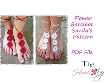 Barefoot Sandals- CROCHET PATTERN- flower sandals instant download permission to sell finished product