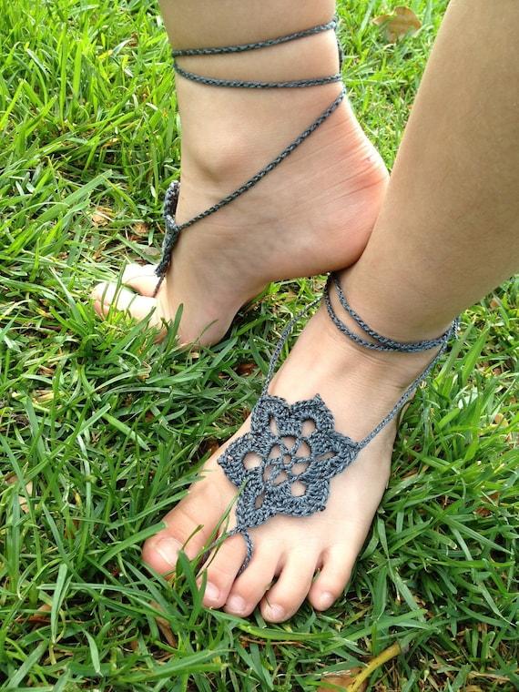 Barefoot Sandals, Summer Star crochet foot jewelry