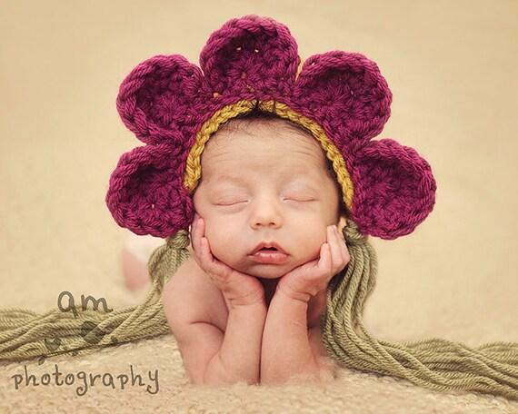 Flower Petal Bonnet Photo Prop Baby hat crochet