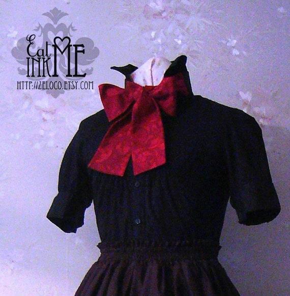 Red neo Victorian steampunk bow tie unisex