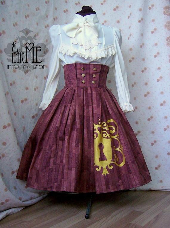 Hidden Secrets steampunk lolita neovictorian skirt with gold print
