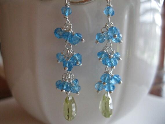 Swiss Blue Topaz cluster lemon quartz briolette sterling silver Earrings