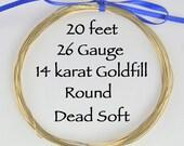 26 gauge ga 20 ft 14 karat Goldfill Round Wire Dead Soft