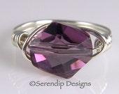 Silver Crystal Ring, Amethyst Swarovski Cosmic Crystal Ring, Argentium Sterling Silver February Birthstone Ring, Statement Ring