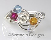 Four Birthstone Grandmothers Ring, Mothers Ring, Argentium Sterling Silver and 4 Swarovski Birthstone Crystals mr4tw-4