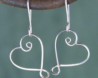 Shiny Silver Spiral Heart Earrings, Sophie Earrings, Argentium Sterling Silver Valentine Earrings SE34