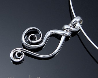 Double Spiral Silver Pendant, Argentium Sterling Silver Necklace, Handmade Silver Spiral Tela Necklace SN2