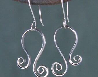 Silver Spiral Flip Earrings, Argentium Earrings, Sterling Silver Spiral Flip Earrings SE22