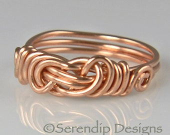 Copper Lover's Knot Ring in Your Size, Celtic Knot RIng, Custom Hand Woven Knot Ring