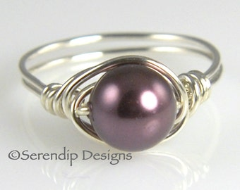 June Birthstone Pearl Ring, Burgundy Solitaire in Argentium Sterling Silver, Custom Purple Pearl Ring, Swarovski Pearl Ring, Wrapped Ring
