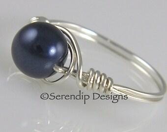 Sterling Silver Dark Blue Pearl Ring, Argentium Sterling Silver Night Blue Pearl Ring, Swarovski Crystal Pearl, Deep Blue, Custom Pearl Ring
