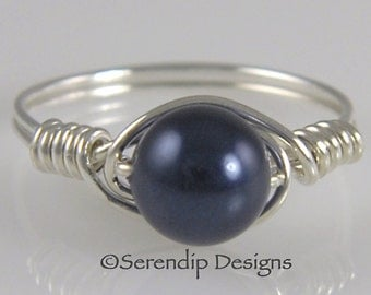 Midnight Blue Pearl Ring, Wire Wrapped Argentium Sterling Silver Deep Blue Swarovski Pearl Ring, Silver Pearl June Birthstone Ring