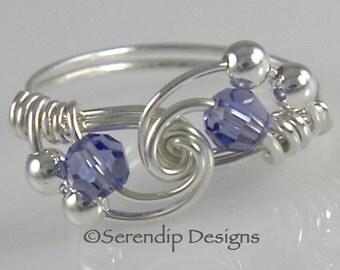 December Birthstone Silver Twist Ring, Swarovski Crystal Tanzanite Ring, Argentium Sterling Silver Birthstone Ring