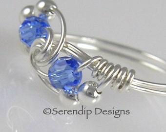 Wire Wrapped Birthstone Ring, Silver Twist Swarovski Crystal Sapphire Ring, Argentium Silver Ring, September Birthstone Ring