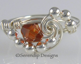 Sterling Silver Crystal Galaxy Ring, Statement Ring, Wire Wrapped Red Magma Swarovski Crystal Argentium Silver Ring