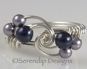 Silver Pearl Cluster Ring, Argentium Sterling Silver Dark Blue and Mauve Swarovski Pearls, Custom Silver Pearl Twist Ring, Multi Pearl Ring